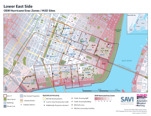 Map of Coastal Flooding Hazards at Lower East Side NYCHA Developments  -  Courtesy of Pratt Institute's RAMP